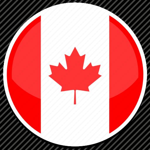 canada, flag, round icon