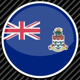 cayman, flag, islands, round icon