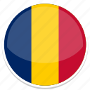 chad, flag, round icon