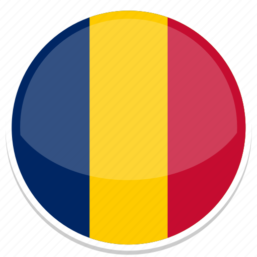 chad, flag, round icon