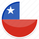 chile, flag, round icon