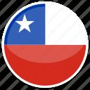 chile, flag, round