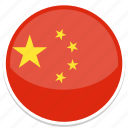 china, chinese, flag, round icon
