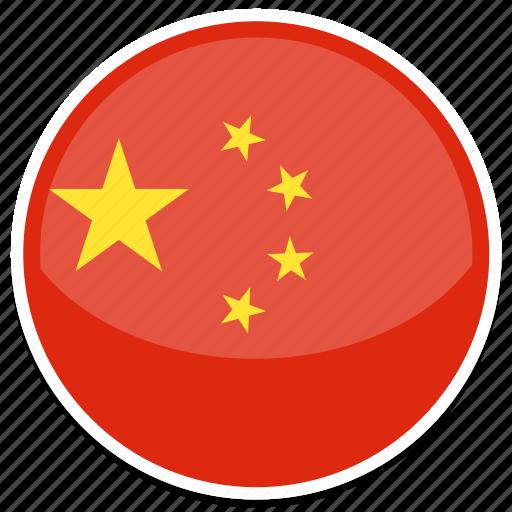 china, chinese, flag, round icon