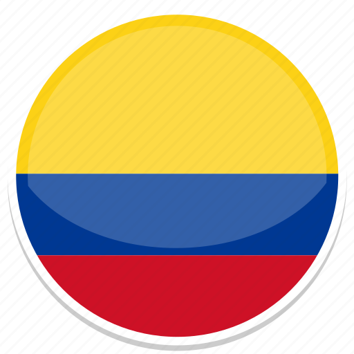 colombia, flag, round icon