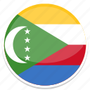 comoros, flag, round icon