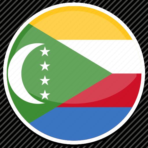 comoros, flag, round icon