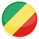 congo, flag, round icon