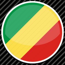 congo, flag, round icon