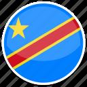congo, flag, kinshasa, round icon