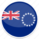 cook, flag, islands, round icon