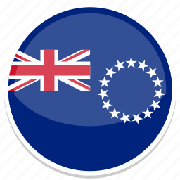 cook, flag, islands, round icon