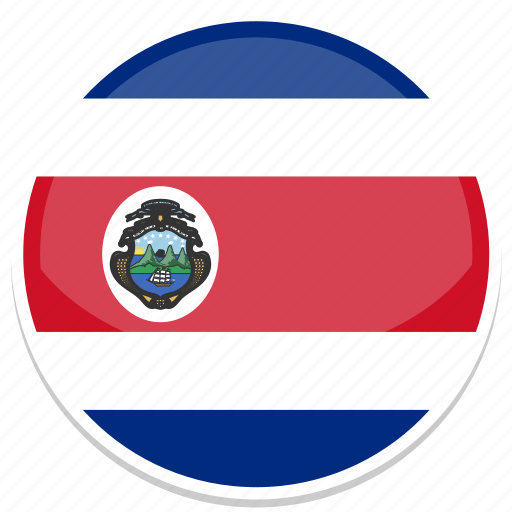 costa, flag, rica, round icon