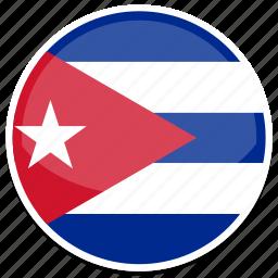 cuba, flag, round icon