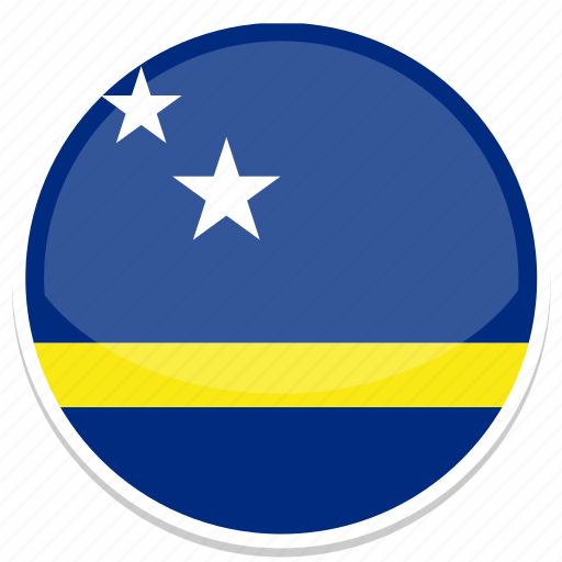 curacao, flag, round icon