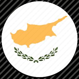 cyprus, flag, round icon
