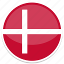 denmark, flag, round icon