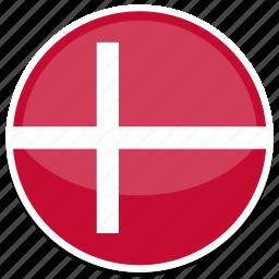denmark, flag, round icon