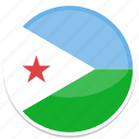 djibouti, flag, round icon
