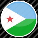 djibouti, flag, round icon