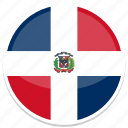 dominican, flag, republic, round icon