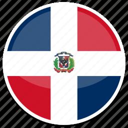 dominican, flag, republic, round icon