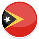 east, flag, round, timor icon