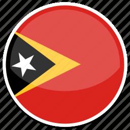 east, flag, round, timor icon