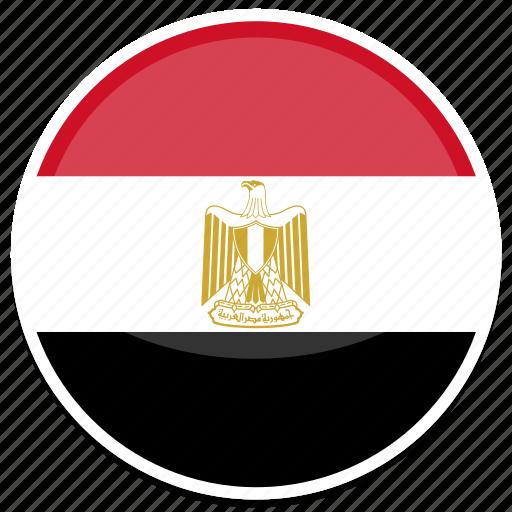 egypt, flag, round icon
