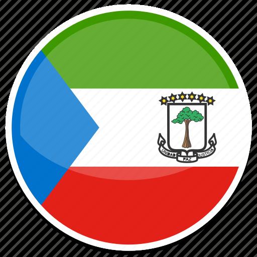 equatorial, flag, guinea, round icon