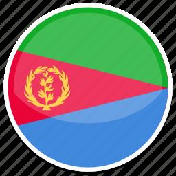 eritrea, flag, round icon