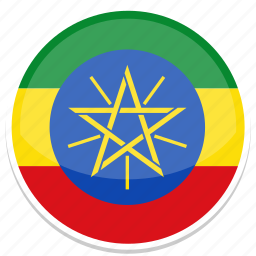 ethiopia, flag, round icon