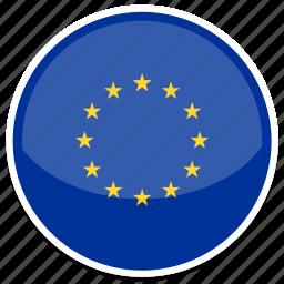 european, flag, round, union icon