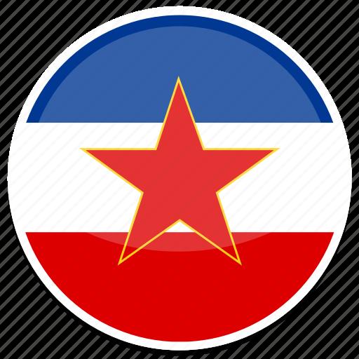 ex, flag, round, yugoslavia icon
