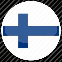 circle, finland, flag, flags, round icon