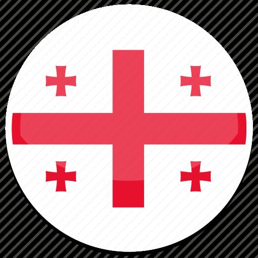 circle, flag, flags, georgia, round icon