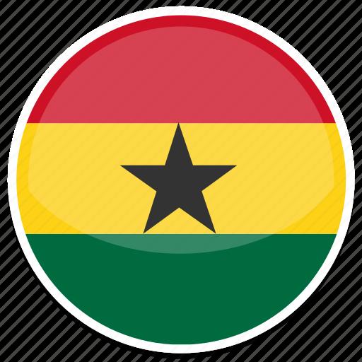 circle, flag, flags, ghana, round icon