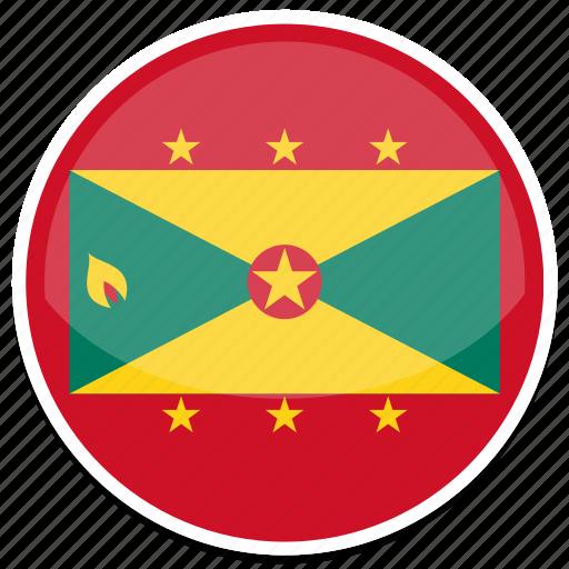 circle, flag, flags, grenada, round icon