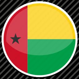 bissau, circle, flag, guinea, round icon