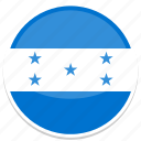 circle, flag, flags, honduras, round icon
