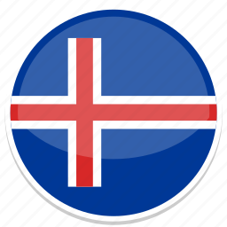 cirlce, flag, flags, iceland, round icon