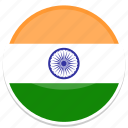 circle, flag, flags, india, round icon