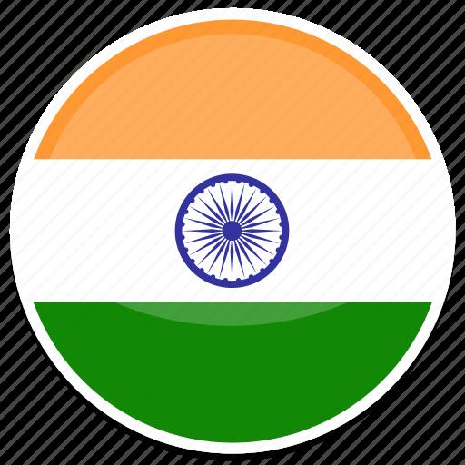 circle, flag, flags, india, round icon