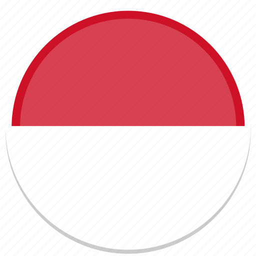 circle, flag, flags, indonesia, round icon