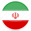 circle, flag, flags, iran, round icon