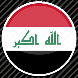 circle, flag, flags, iraq, round icon