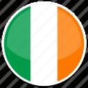 circle, flag, flags, ireland, round icon