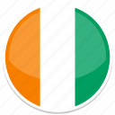 ivory, coast, flag, round icon
