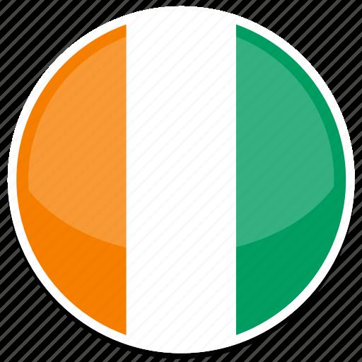 coast, flag, ivory, round icon