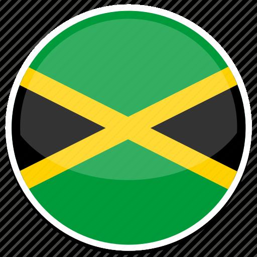 circle, flag, flags, jamaica, round icon